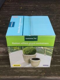 NWB Rattan Effect Plant Containers x2