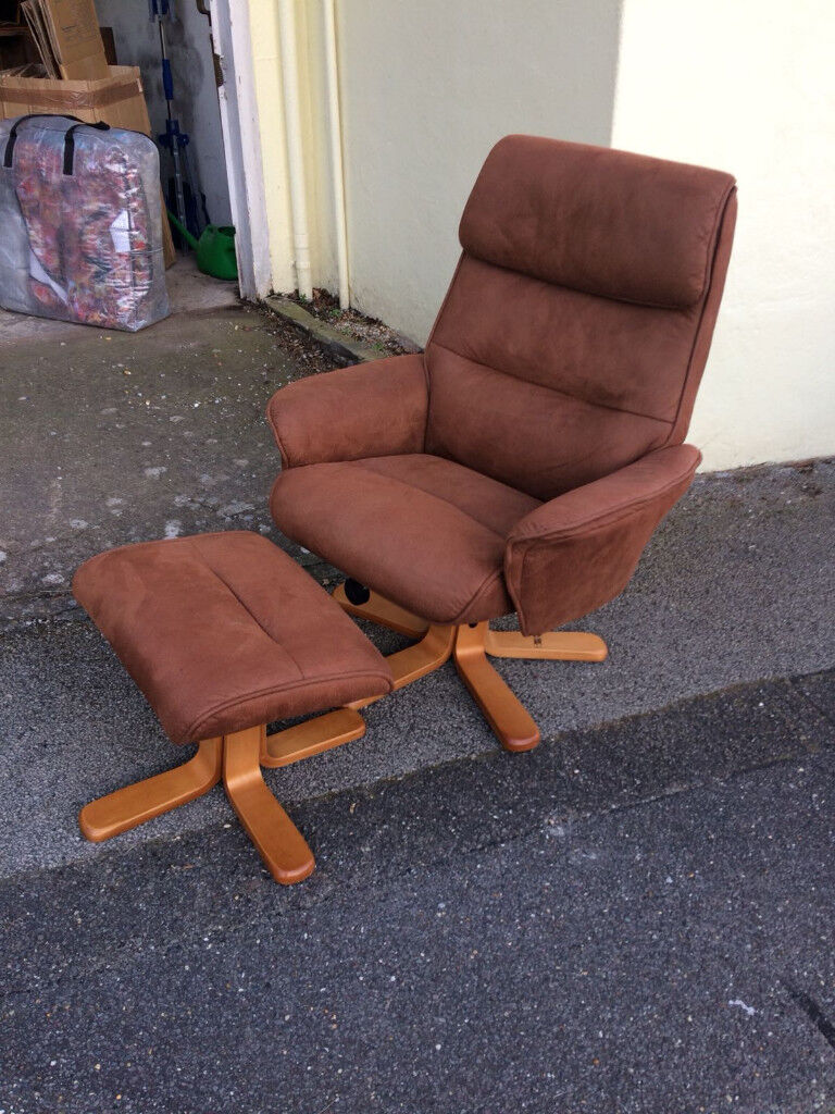 Miraculous Two Almost New Faux Suede Reclining Chairs With Footstools In Poole Dorset Gumtree Pabps2019 Chair Design Images Pabps2019Com