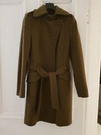 ESPRIT Wool Midi Khaki Military Style Coat with Belt UK size 10