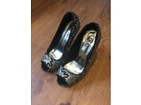 Size 5 Silver and Black 5 Inch Platform Stiletto Heels
