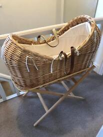 Snug Moses Basket Mothercare with stand, mattress, coverlet and new sheets
