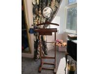 Wooden valet suite gentleman's stand with mirror