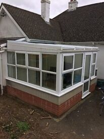 Dwarf wall square UPVC conservatory with blinds.