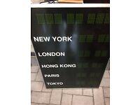 TIME ZONE CLOCK NEW YORK, HONG KONG, LONDON , PARIS , TOKYO