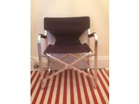 Designer Black-and-Chrome Folding Chair
