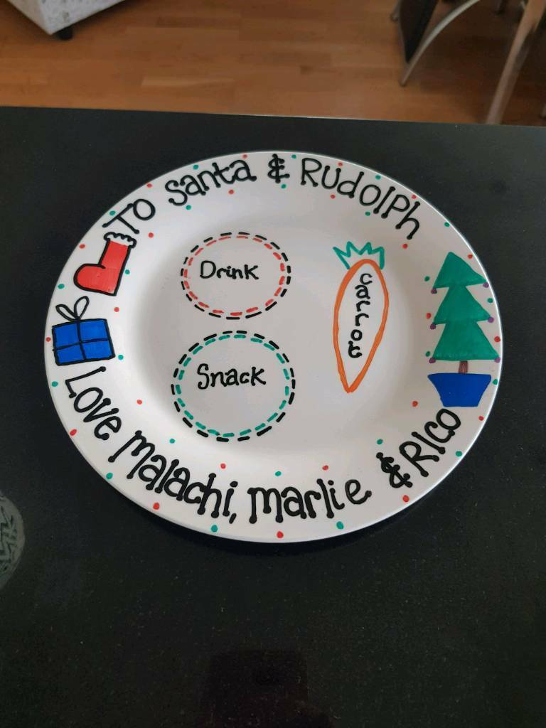 Hand made personalised Christmas plates