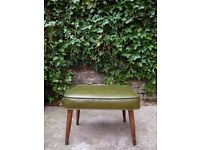 Danish Ottoman Mid Century Modern Leather & Walnut Footrest Chair Stool Eames Era