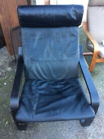 Black leather ikea chair for sale