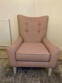 Dusky pink fabric accent armchair with light grey wooden legs