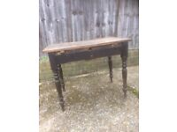 Old rustic wooden brown table