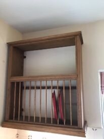 Hand crafted oak plate rack