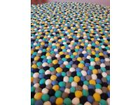 NEW! Various Handmade Multi Colour Felt Ball Rug /Wool/ Nursery Kids/Carpet / Pom Pom. Made in Nepal