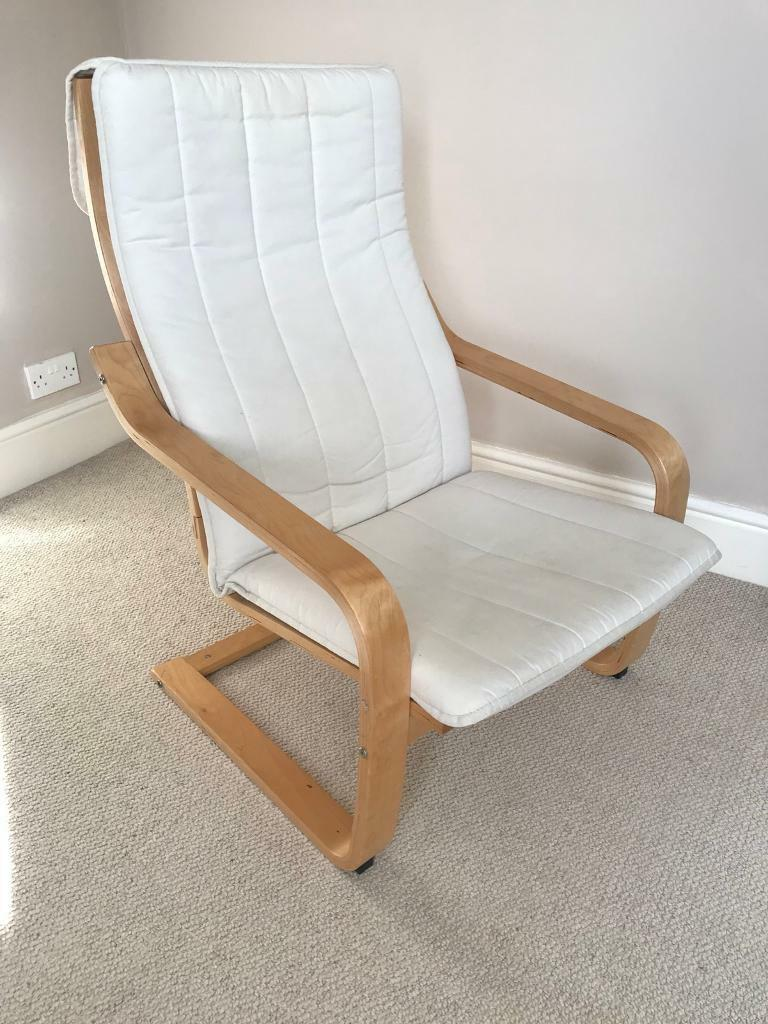 Ikea Poang ChairWhite/Beige Seat Coverin Weybridge, Surrey - Ikea Poang Chair with White/Beige Chair Cover Very Good ConditionLocated in Central Weybridge
