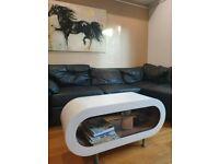 Designer Medium Retro White and Oak 90cm Hoop Coffee Table/TV Stand with Feet