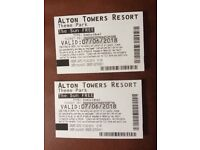 2 x Alton towers tickets for Thursday 7th June 2018
