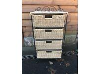 Wicker 4 drawer unit in metal work frame