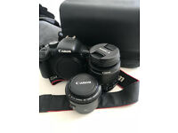 Canon EOS 550D (Rebel T2i) DSLR, Canon 18-55mm Lens, Canon 50mm Lens and Canon Camera Bag
