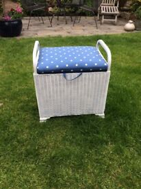 Lloyd Loom storage stool. Restored in white with blue & white poka dot seat and inside lining lining