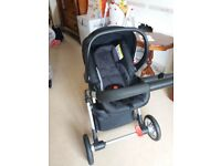 Mothercare Roam pram pushchair. Padded bassinet insert rain cover and car seat. Front and rear face