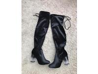 Thigh knee high velvet boots size 8 designer style