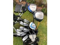 Full set of golf clubs includes 14 diveder cart bag
