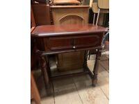antique wood bedside table