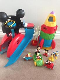 Mickey Mouse club house and space rocket playset