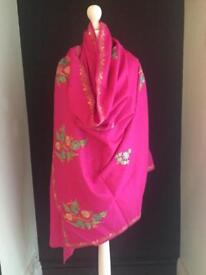 Lovely embroidered pink wool shawl / fabric