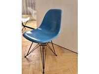 Eames Fibreglass chair w/ black eiffel base - BABY BLUE