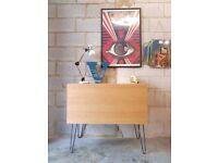 Vintage Oak Sideboard Record Cabinet