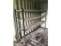 FOR SALE HEAVY DUTY INDUSTRIAL RACKING WITH WOODEN BOARDS
