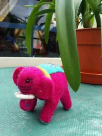 Handmade felt elephant toy pink colour