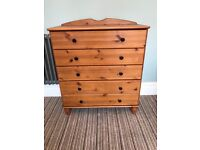 Chest of drawers wooden shaped feet pine matching tall boy on other listing