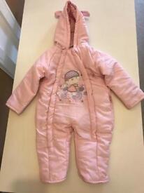 Baby girl pink snowsuit 6-12 months