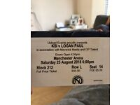 2 x KSI vs Logan Paul tickets £45 each