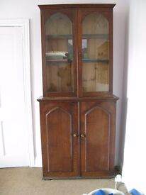 "19th Century glass fronted bookcase and cupboard (formerly a ""gun cupboard"")"