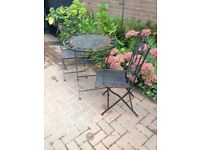 Lightweight metal folding garden table and 2 chairs