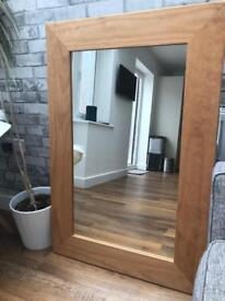 Large rustic oak effect mirror