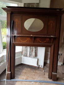 Beautiful antique wooden Fireplace surround, mirror insert, excellent french polished finish, £400