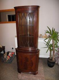 Reproduction Mahogany Corner Display Cabinet