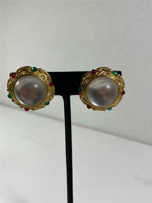 Estate Vintage Signed Paolo Gucci Luminescent Cabochon Gold Tone Clip Earrings