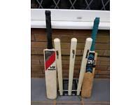 Spring loaded cricket stumps & 2 bats