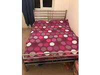 Metal frame double bed and mattress