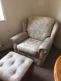Really Comfy Armchair with Matching Footstall. Very Good Condition