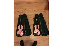 2 x size 4/4 baby pink violins excellent condition
