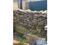 Weathered cotswold dry stone walling