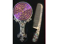 Beautiful intricate silver mirror and comb set in box