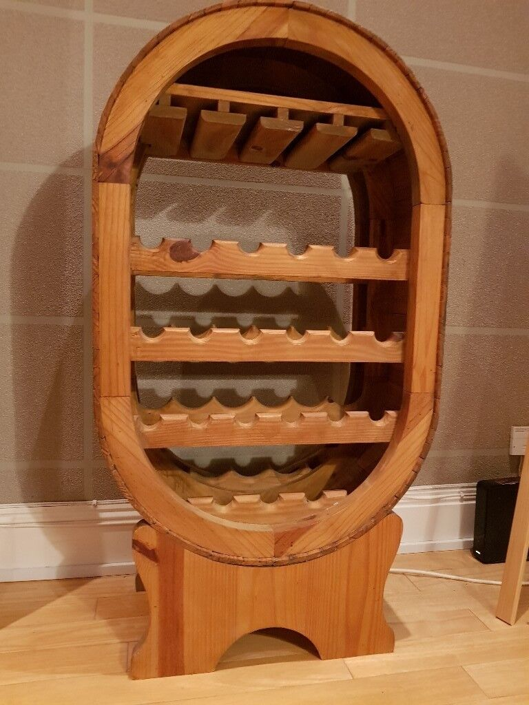 Stylish Oval Wooden Wine Rack With Wine Glass Holder In Southsea