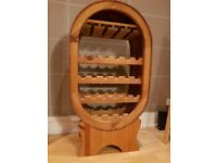 Stylish Oval Wooden Wine Rack with Wine Glass Holder