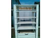 Sturdy IKEA Wooden Storage Shelves with Wheeled Pullout Drawer